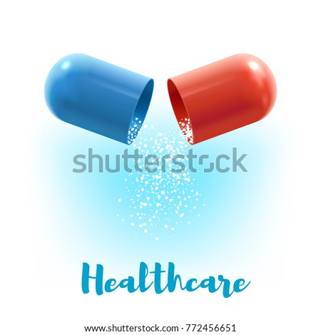 Open capsule pill with fall out granules 3d illustration. Healthcare poster with blue and red hard shells of capsule with medication inside for medicine, pharmacy and prescription drugs themes design