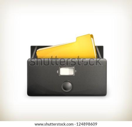 Open card catalog, vector black