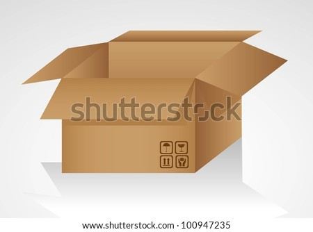 open cardboard box isolated on white background, vector illustration