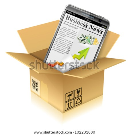 Open Cardboard Box with Business News on Smart Phone, vector illustration