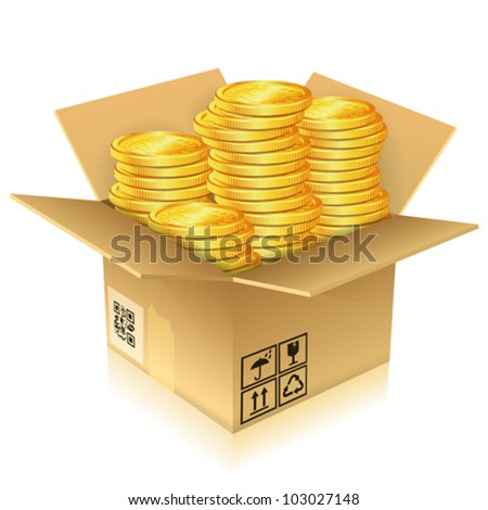 Open Cardboard Box with Gold Coins, vector illustration