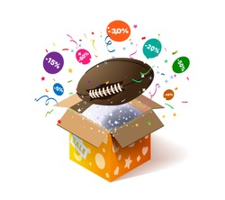 Open cardboard box with rugby ball and confetti explosion inside and on white background. Winning a lottery. Promotional banner. Illustration for advertising decoration of stores and for raffle prizes