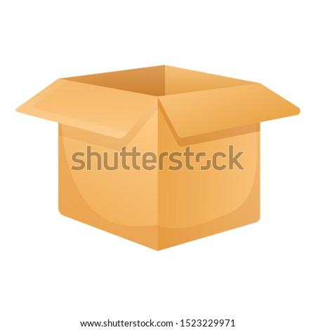 Open carton box icon. Cartoon of open carton box vector icon for web design isolated on white background