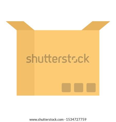 Open carton box icon. Flat illustration of open carton box vector icon for web design