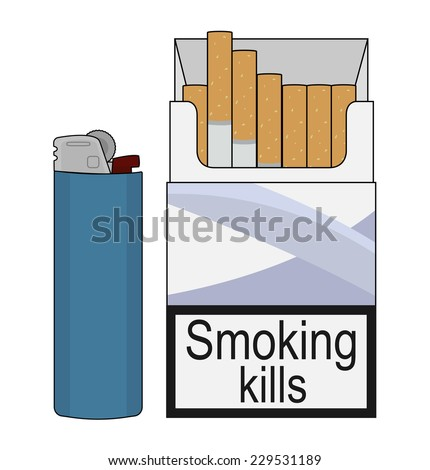 open cigarettes pack with blue