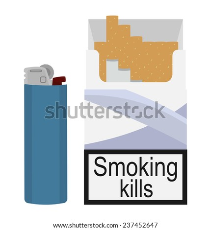 Blue Cigarette Lighter Open Cigarettes Pack With Blue