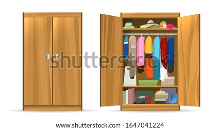Open closets cupboard wardrobe. Closet with opening doors, clothing and shoes, hats and boxes. Wooden wardrobe with closed doors vector illustration Stock photo ©