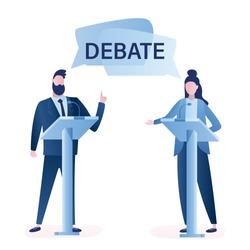 Open debates before Vote. Concept with leaders of opposing political parties conducting intense discussion on public debates. Responding on journalists questions during election campaign. Vector