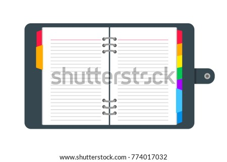 Open diary, journal, notebbok organizer vector illustration