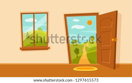 Open door and window cartoon colorful vector illustration valley summer sun landscape with road, trees green field. House apartment entrance corridor flat design. Home exit interior view freedom conce