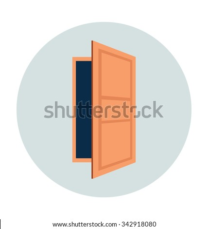 Open Door Colored Vector Illustration