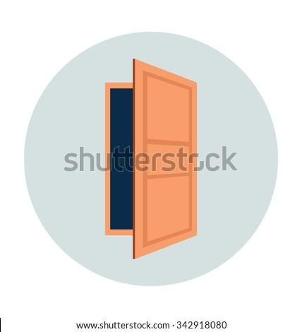 Open Door Colored Vector Illustration