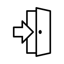 Open door / entrance with arrow or logout line art vector icon for apps and websites