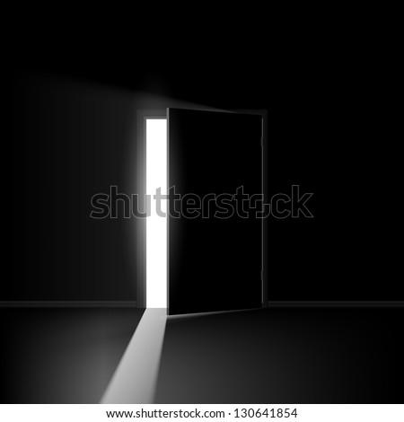 Open door. Illustration on black background for creative design