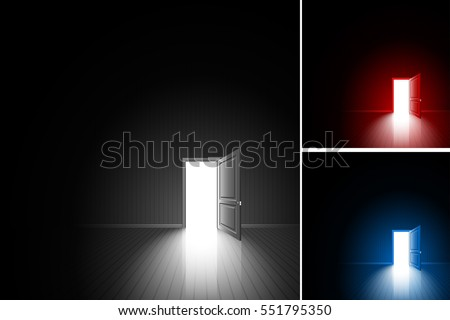 Open door in a dark room; Bright light outside - illuminates the floor; The concept of only decision, daring choice, exit, finding of freedom; Chance to achieving the goal; Vector background set Eps10