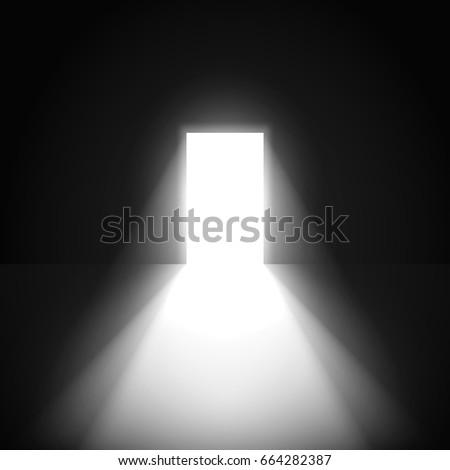 open door in a dark room with