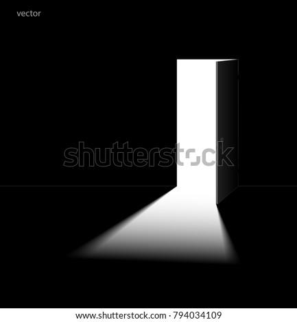 Open door in dark room. Vector illustration