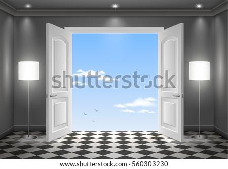 Open Door In The Sky. The Interior Of The Dark Room. Vector Graphics