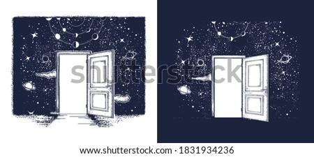 Open door in universe tattoo. Symbol of imagination, creative idea, motivation, new life. T-shirt design. Surreal art. Black and white vector graphics