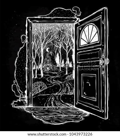 open door into a nature hand