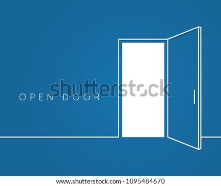 open door line concept blue