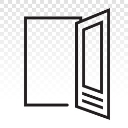 open door / main entrance line art icons on a transparent background