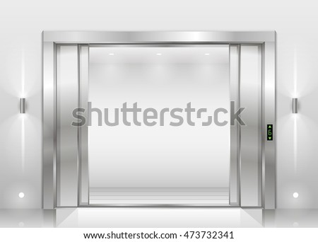 open door of freight elevator