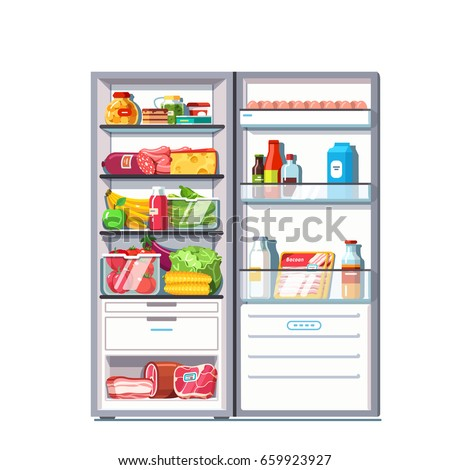 Open door refrigerator full of vegetables, fruits, meat and dairy products. Fridge with freezer. Flat style vector illustration isolated on white background.