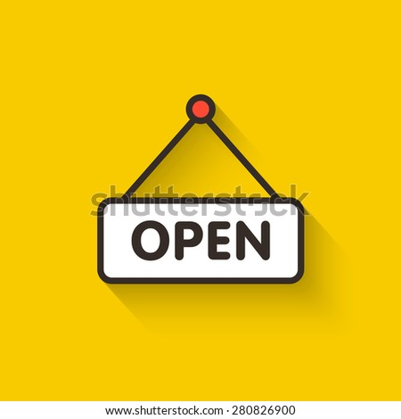 Open door sign vector illustration