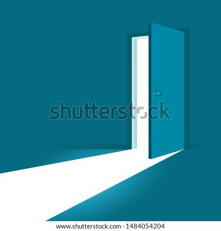 Open door. Symbol of new career, opportunities, business ventures and initiative. Business concept. Vector illustration