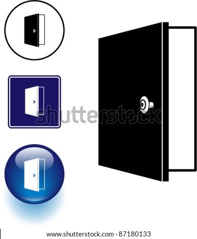 open door symbol sign and button