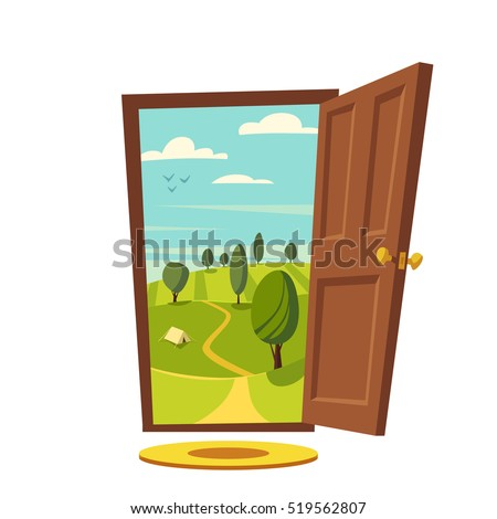 Open door. Valley landscape. Cartoon vector illustration. Vintage poster. Welcome to real world. Retro style