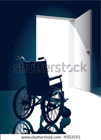 Open door with an empty wheel chair