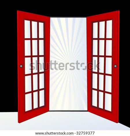 open door with burst