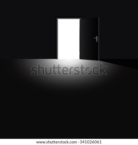 Open door with light coming into the darkness, as a symbol for hope, courage and for taking a chance. Vector illustration.
