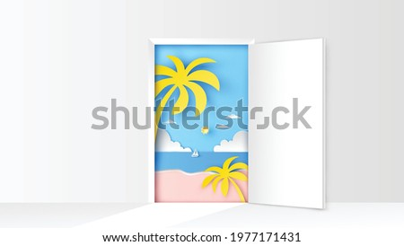 Open door with sea beach scenery. Sea landscape in door. paper cut and craft style. Summer time. Sea landscape. paper cut and craft style. vector, illustration.