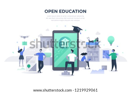 Open education concept. People gaining excess to high-quality learning materials and resources with the help of modern technologies. Students learning online #1219929061