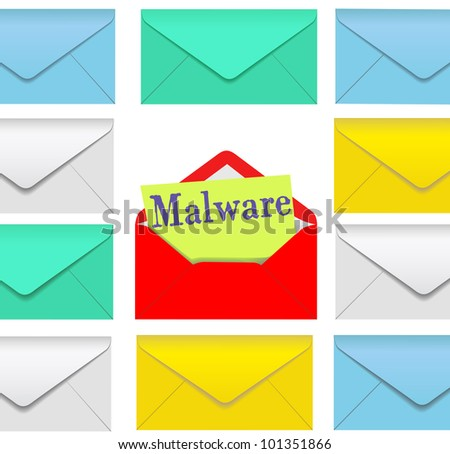 Open email envelope attachment symbol with malware inside