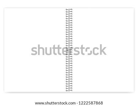 Open empty blank wire bound notebook with metal spiral, realistic vector mock up. Loose leaf white clear notepad spread, template