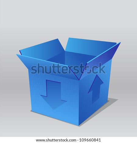 open empty cardboard blue box  illustration, isolated on white background