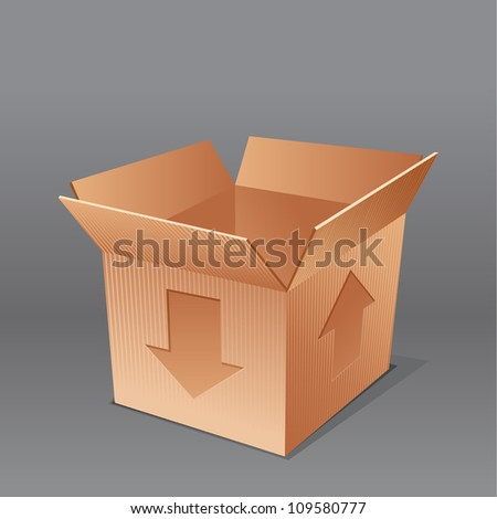 open empty cardboard box  illustration, isolated on grey background