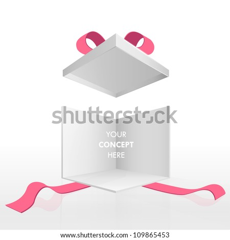 Open empty gift box and red ribbons. Vector design isolated on white.