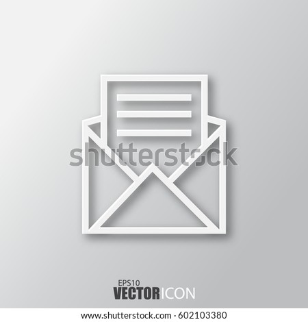 open envelope letter icon in white style with shadow isolated on grey background for your