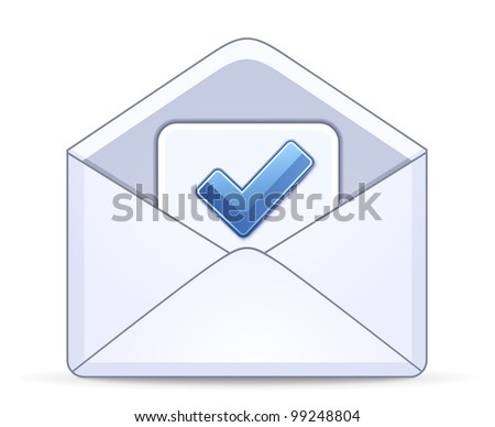 Open envelope with a check mark symbol. Vector illustration - stock vector