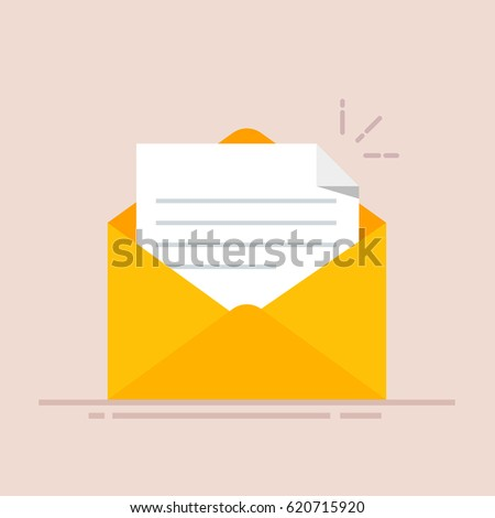 Open envelope with a document. New letter. Sending correspondence. Flat illustration isolated on color background.