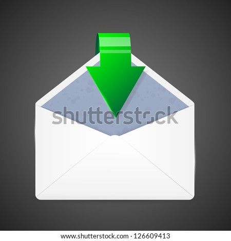 Open envelope with arrow. Vector illustration.