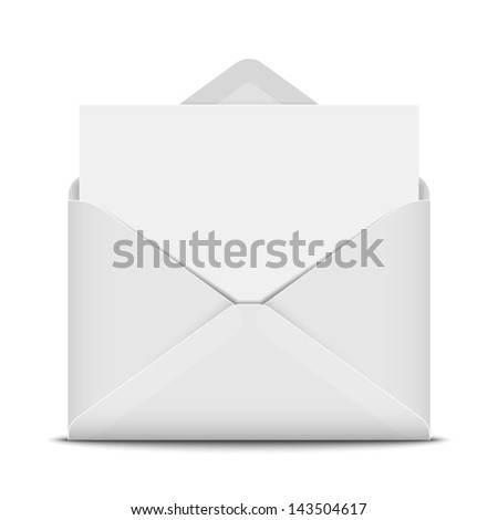 Open envelope with blank paper