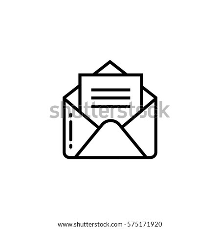 Open envelope with document outline icon
