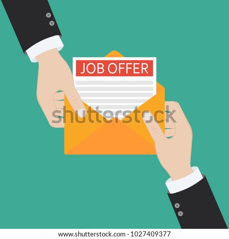 Open envelope with Job offer message. Flat design vector illustration.