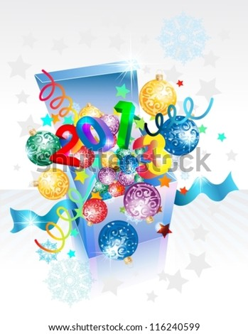 Open explore gift box for New Year, Christmas design, vector